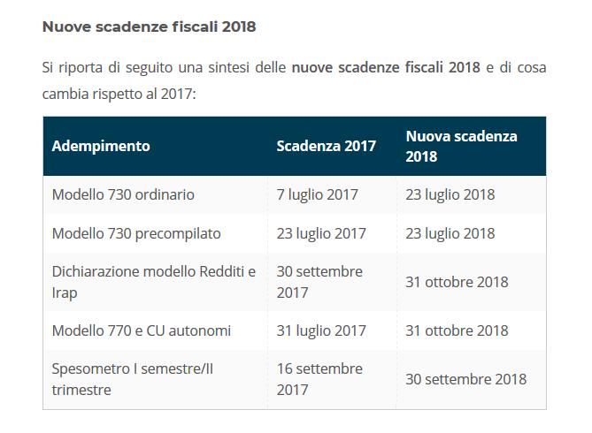 Calendario Fiscale.Scadenze Fiscali 2018 Le Nuove Date Studioassociatovalente